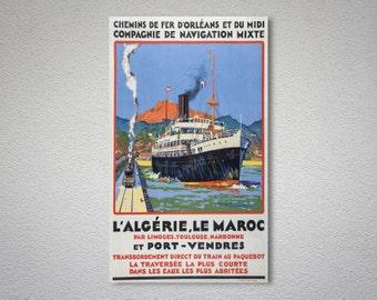 L'Algerie, Le Maroc Compagnie de Navigation Mixte  Vintage  Travel Poster - Poster Print, Sticker or Canvas Print