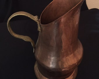 "Hand Hammered Copper Pitcher Vintage 8.5"" tall"