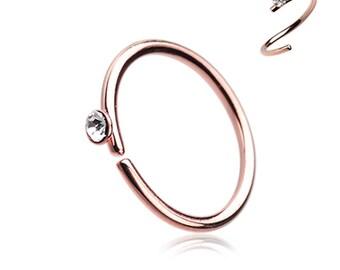 Rose Gold Gem Top Bendable Steel Nose Hoop