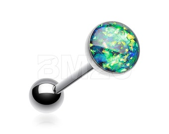 Black Opal Sparkle Steel Barbell Tongue Ring