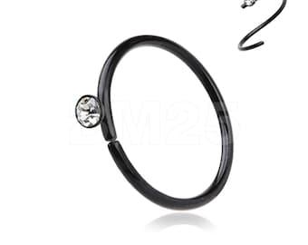 Blackline Gem Top Bendable Steel Nose Hoop