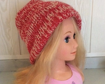 Bonnet woman Reversible Mohair red and off-white