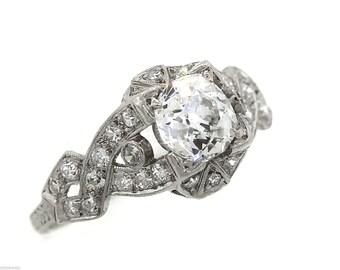 Eccentric Ladies Antique Art Deco Platinum 1.80ctw Diamond Engagement Ring