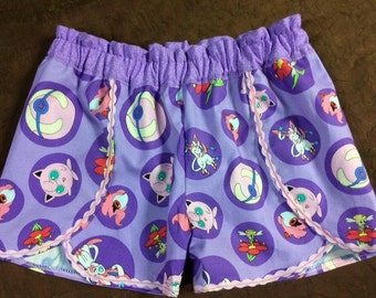 Custom made Coachella Shorts Purple Pokemon Jigglypuff Flabebe Sylveon Girls sz 2t 3t 4t 5 6 7 8 10 12 14