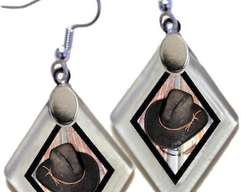 "Earrings ""Western Hats"" from rescued, repurposed window glass~Lightening landfills one tiny glass diamond at a time!"