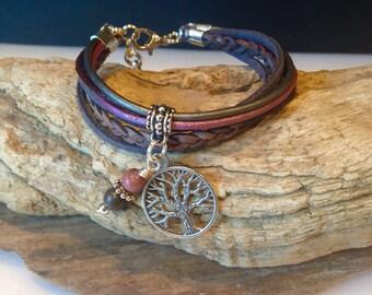 Boho Wrap, Leather Wrap Bracelet, Cuff Wrap, Leather/Suede Charm Bracelet, Butgundy Plum, Grey, Christian, Zen, Personalized Bracelet