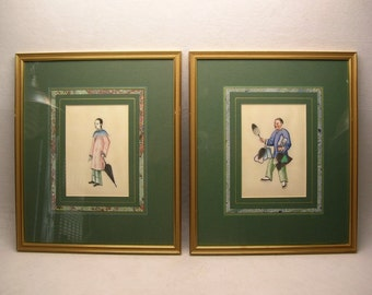 Two Framed Chinese Watercolor Paintings on Pith Paper (#hy15905)