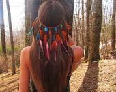 Tiger Lily Headdress, feather headband, feather headdress, orange and blue, turquoise, native, america, style, indian, costume, festival