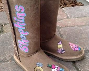 Girls handpainted  Shopkins glitter boots shoes  sz 1