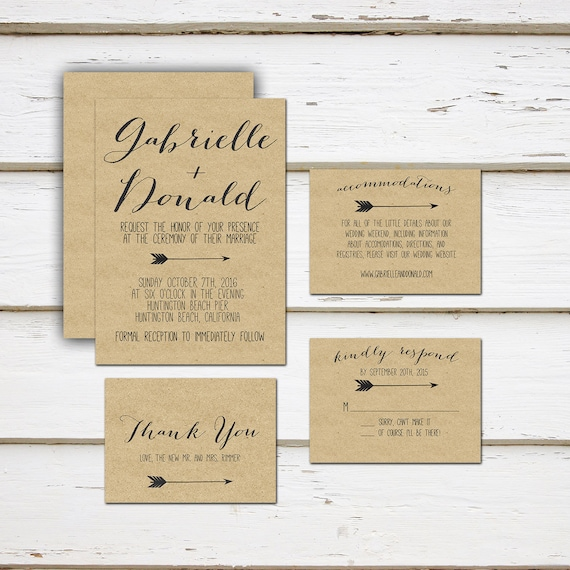 Printable Mini Wedding Suite Invitation Thank You Card