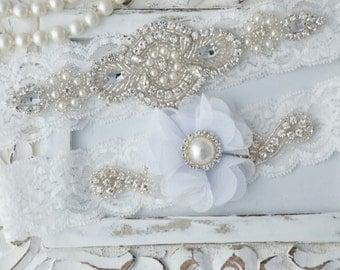 Wedding Garter Set, Bridal Garter Set, Vintage Wedding, Lace Garter, White Garter Set, White Wedding Garter, White Bridal Garter - Style 530