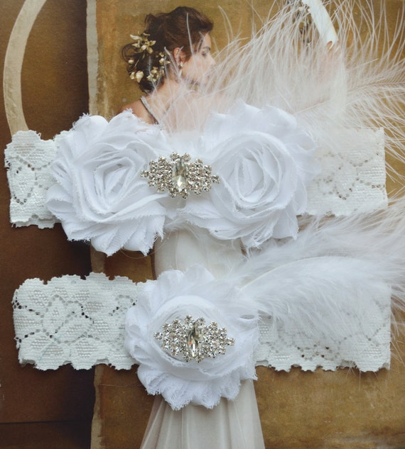 White Wedding Garter: Wedding Garter Wedding Garter Set With White Feathers