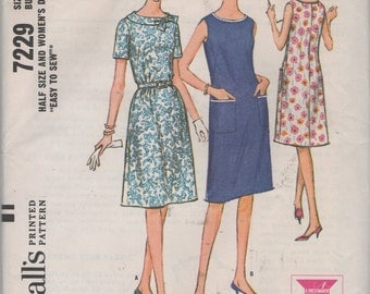 Half Size Lightly Flared One Piece  Dress  Sewing Pattern McCalls 7229 uncut size 16 1/2 Bust 37