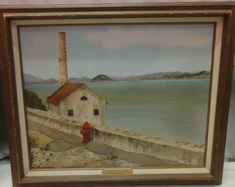 "Vintage Oil Painting Titled ""View from The Rock""/Signed By Thelma Sorells"