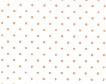 Essential Dots white and Tangerine for Moda 8654 67 Half Yard Cut and Yardage Available