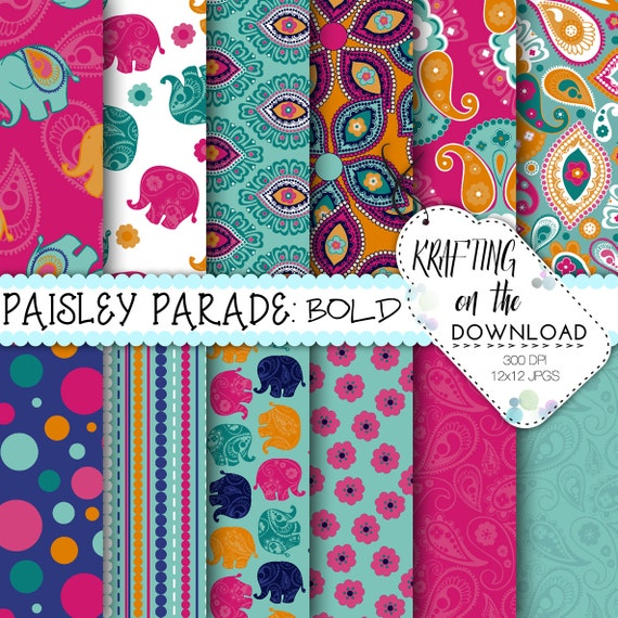 Pink Turquoise Girly Chic Floral Paisley Pattern Rug By: Pink And Navy Elephant Digital Paper Pack Paisley Boho