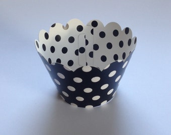 12 Black /white dots cupcakes wrapers .
