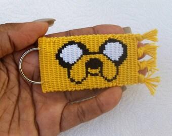 Jake the dog Adventure time Keychain/keyring. Double sided Jake the dog Keychain/keyring.