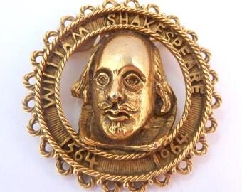 Vintage 1960's Shakespeare 400th Anniversary Birth Brooch.