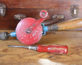 Vintage hand drill Clipper Fleetway and wooden handle screwdriver - blue and red