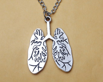 Human Lungs necklace, Human lungs charm, Anatomy charm, Anatomy necklace