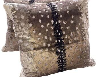 Pair Of Belgium Antelope Velvet Pillows