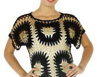 Gold Lurex Crochet Top in black