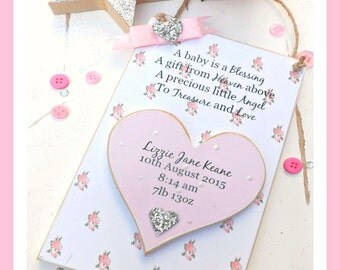 Floral Baby Plaque, a baby is a blessing, personalised plaque