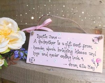 Handmade Godparent plaque sign keepsake