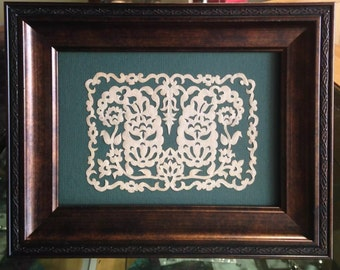 "Paisleys Mirrored, ORIGINAL Handmade Paper Cutting, Scherenschnitte, 4x6"""