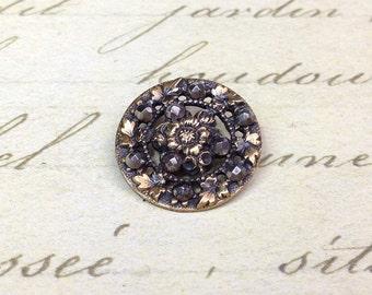 Medium Antique Floral Openwork Steel Cut Button 18 mm