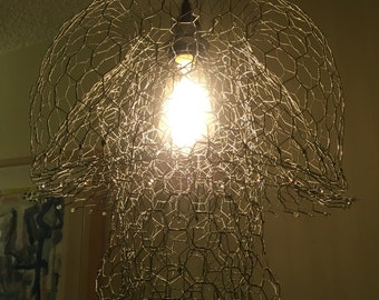 Pendant/ hanging lamp/ mushroom chandelier handmade w/chicken wire and crystal beads