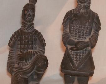 Pair of Terra Cotta Ancient Warrior Figures