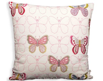 Jane Churchill Get Happy Designer Fabric Embroidered Butterfly Cushion Cover