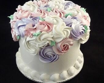 6 Inch White Rosette Fake Cake