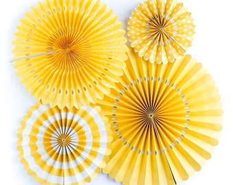 Yellow Party Paper Rosette Fans for a Modern Chic Event