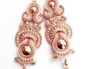 bridal earrings rose gold statement soutache earrings