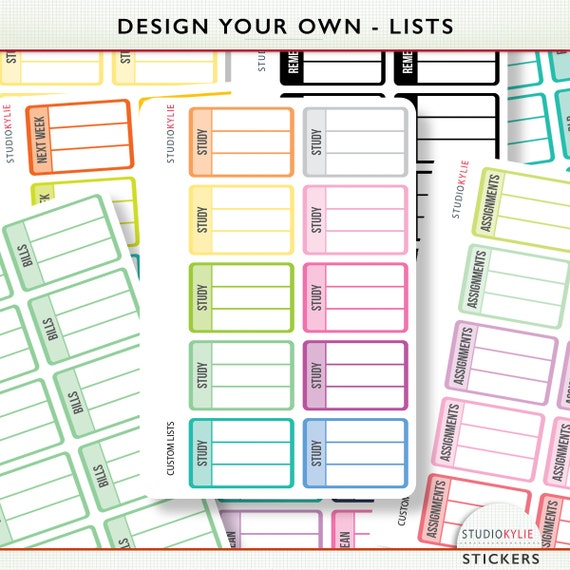 Design Your Own Planner Stickers List Planner Stickers