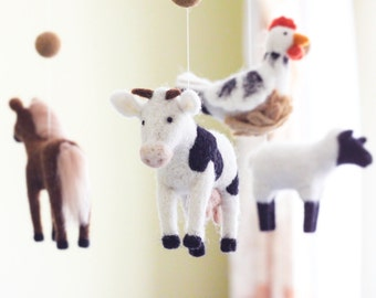 Needle Felted Baby Mobile, Farm animals, Domestic animals Baby Crib Mobile, Nursery Decor, Baby Shower Gift
