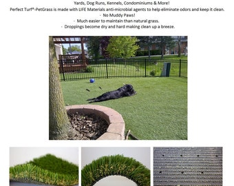 "1.25"" Doggie Doo Doo ANTIMICROBIAL Artificial Grass / Turf - Indoor Outdoor Mats, Dog Runs, Kennels & More"