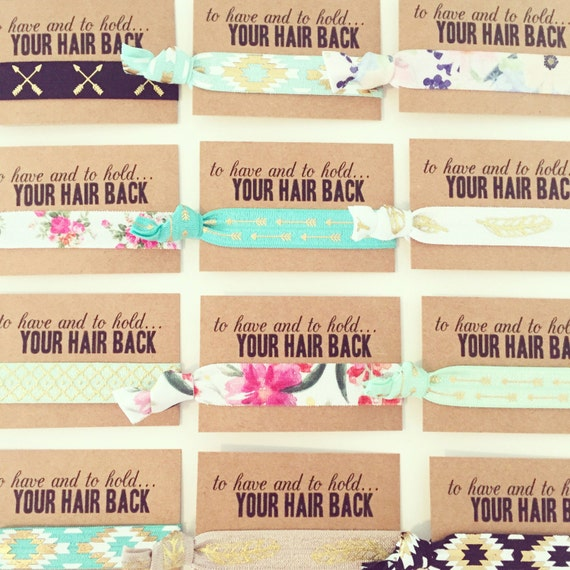 ASSORTED BOHO Hair Tie Favors | Boho Bachelorette Hair Ties, Bride Tribe Bohemian Bachelorette Hair Tie Favor, Turquoise Gold Aztec Tribal
