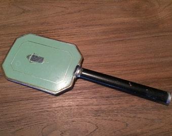 Vintage Handheld Mirror Enamel Turquoise Silver Black Makeup Vanity Hand Held Metal Art Deco