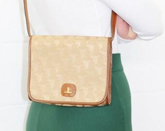 VINTAGE Rare 1970's LANVIN Designer Tan Monogrammed Ladies Shoulder Bag Handbag Purse