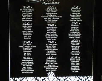 Damask Illuminated TABLE SEATING CHART - Acrylic - Engraved