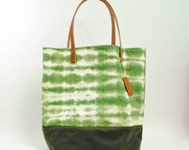Waxed Cotton and canvas tie dye tote bag, leather straps, green and tan