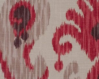Braemore Journey Wine Ikat Absract Paisley Fabric