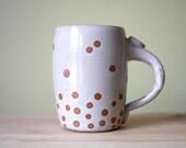Antique White Floating Bubbles - Polka Dots Mug - 16oz - wheelthrown pottery
