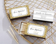 Personalized Black Matchboxes Wedding Set of 50 Matchbox Custom Matches Damask Stripe Ombre Glitter Wedding Favors Bridal Shower Party Gifts
