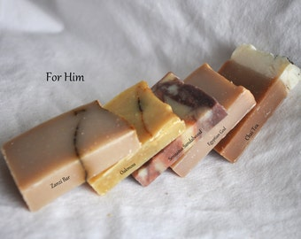 FOR HIM, 5 Handcrafted 1oz SOAP, gift for men, Handmade Soap, Samples, Travel size, gift for boyfriend, Trial Size, Party Favor, FH5
