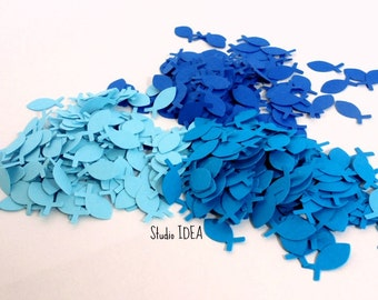 200  Mixed Blue small Fish Confetti, Cut-outs, or Choose your Colors- Set of 200 pcs